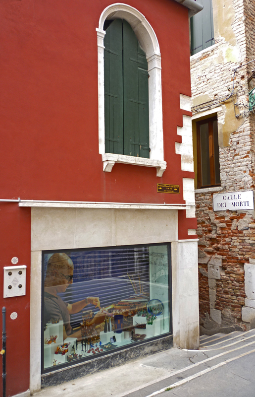 (Mauro Vianello Studio in Venezia Italy) Window on the Ponte della Chiesa .